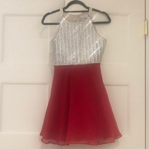 Girls rhinestone fit-and-flare party dress